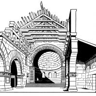 Базилика в Кальб-Лузе. Северная Сирия. 5 век. Внутренний вид. Реконструкция