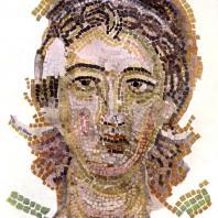 Ангел «Дюнамис». Фрагмент мозаики с изображением небесных сил с алтарного свода церкви Успения в Никее. 7 век