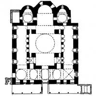 Церковь св. Софии в Фессалониках. Заложена в 5 в., завершена в 8 веке. План