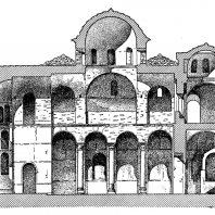 Церковь Пантанасса в Мистре. Освящена в 1428 г. Продольный разрез