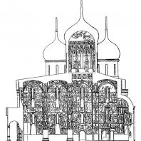 Успенский собор в Московском Кремле. Продольный разрез