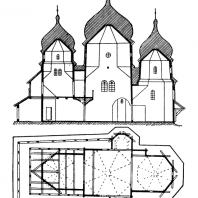 Церковь св. Юра в Дрогобыче. Начало 17 века. Продольный разрез и план