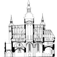 Благовещенская церковь в Супрасле. 1509-1510 г. Продольный разрез