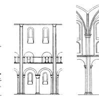 Схема членения стены среднего нефа церквей св. Михаила в Гильдесгейме, Нотр-Дам в Жюмьеже и собора в Вормсе