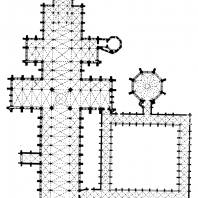 Собор в Солсбери. 1220-1270 гг.; башня над средокрестием - 14 век. План