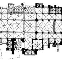 Собор св. Вита в Праге. Начат в 1344 г.; основное строительство во 2-й половине 14 века, западная часть собора - 2-я половина 19 - начало 20 века. План