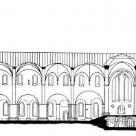Собор в Лунде. Начат около 1100 г. Продольный разрез