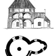 Церковь св. Николая на острове Борнхольм. Около 1200 г. Продольный разрез и план