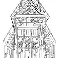 Церковь в Боргунде (Borgund stavkyrkje). 12 век. Поперечный разрез