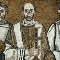 Архиепископ Максимиан. Фрагмент мозаики «Император Юстиниан со свитой» церкви Сан Витале в Равенне