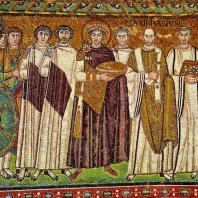 Император Юстиниан со свитой. Мозаика церкви Сан Витале в Равенне. До 547 г.
