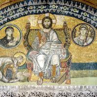 Император Лев VI перед Христом. Мозаика нарфика храма св. Софии в Константинополе. 886-912 гг.