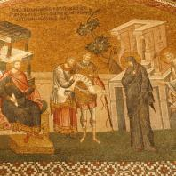 Перепись. Мария и Иосиф перед проконсулом Квирином. Мозаика внешнего нарфика церкви монастыря Хора (Кахрие-Джами) в Константинополе. Начало 14 века