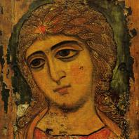 Голова архангела. Икона конца 12 века. Ленинград, Русский Музей