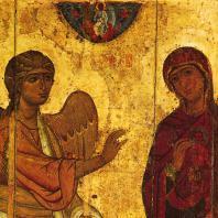 «Устюжское Благовещение». Икона конца 12 век. Фрагмент