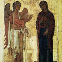«Устюжское Благовещение». Икона конца 12 век. Москва, Третьяковская галерея