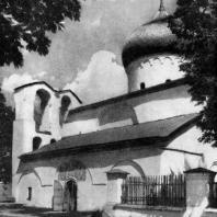 Собор Спасо-Преображения Мирожского монастыря в Пскове. До 1156 г. Вид с юго-запада