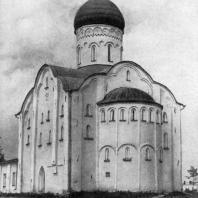 Церковь Федора Стратилата на Ручье в Новгороде. 1361 г. Вид с юго-востока