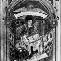 Евангелист Иоанн. Миниатюра Сен-Медардского евангелия. Из монастыря Сен Meдард в Суассоне; около 827 г. Париж, Национальная библиотека