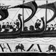 Воины на кораблях. Ковер из Байе. Фрагмент. 11 в. Байе, собор