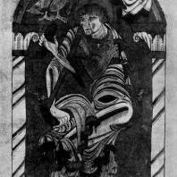 Евангелист Иоанн. Миниатюра Евангелия Амьенской библиотеки. Конец 11 в.