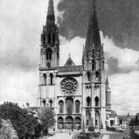 Собор Нотр-Дам в Шартре. Строительство начато в 1194 г., завершено в основном к 1260 г. Западный фасад