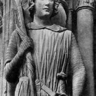 Св. Теодор в образе рыцаря. Статуя собора в Шартре. Портал южного фасада трансепта. Фрагмент. 1235-1240 гг.