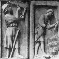 Аллегорические изображения месяцев. Рельефы собора Парижской Богоматери. 1210-1225 гг.