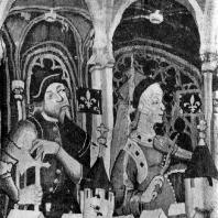 Шпалера из мастерской Никола Батайля с изображением девяти героев и героинь. Фрагмент. Около 1385 г. Нью-Йорк, Метрополитен-музей
