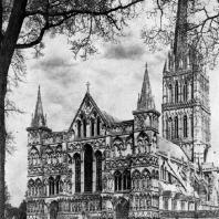 Собор в Солсбери. 1220-1270 гг.; башня над средокрестием - 14 век. Вид с юго-запада