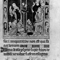 Христос среди учителей. Миниатюра Псалтыри королевы Марии. 1320 г. Лондон, Британский музей