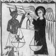 Архангел Михаил, взвешивающий души. Алтарный образ из церкви Валле де Рибес. 13 век. Вик, Епископальный музей