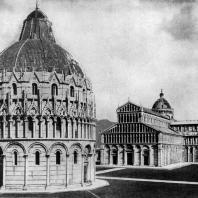 Соборный комплекс в Пизе. Собор - 1063-1118 гг.; баптистерий - 1153 - 14 в.; кампанила начата в 1174 г. Общий вид