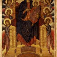 Чимабуэ. Мадонна на троне с младенцем и святыми. Конец 14 века. Флоренция, Уффици