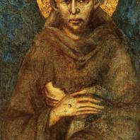 Чимабуэ. Св. Франциск. Фрагмент фрески трансепта нижней церкви Сан Франческо в Ассизи. Начало 14 века