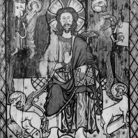 Христос с символами евангелистов. Роспись свода над алтарем церкви в Торпо. Середина 13 века