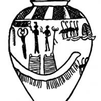 Глиняный сосуд с росписью