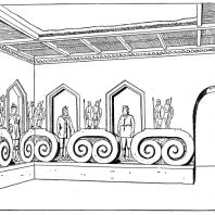 «Зал воинов» во дворце Топрак-кала. Реконструкция