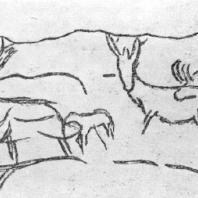 Стадо оленей. Рисунок на камне из Лимейля (Франция, департамент Дордонь)
