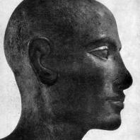 Голова мужской статуи из собрания Сальт. Известняк. IV династия. Первая половина 3 тыс. до н. э. Патиж. Лувр