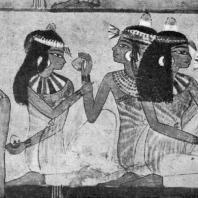 Гости. Фрагмент росписи гробницы Нахт в Фивах. XVIII династия. 15 в. до н. э.