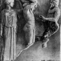 Геракл и Атлас. Метопа храма Зевса в Олимпии. Мрамор. 468—456 гг. до н. э. Олимпия. Музей