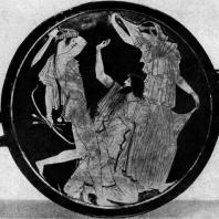 Аполлон, убивающий гиганта Тития. Роспись килика. Около 470 г. до н. э. Мюнхен. Музей античного прикладного искусства