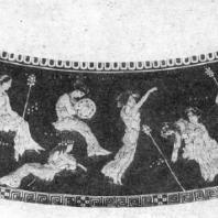 Дионис и его свита. Роспись лекифа. Около 430 г. до н. э. Берлин