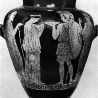 Прощание воина. Роспись стамноса. После 440 г. до н. э. Мюнхен. Музей античного прикладного искусства