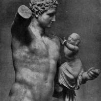 Пракситель. Гермес с Дионисом. Фрагмент. Мрамор. Середина 4 в. до н. э. Олимпия. Музей