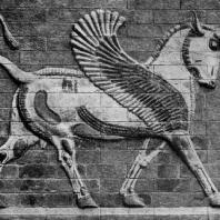 Фантастический зверь. Изразцовый рельеф из Суз. Высота 1,40 м. Париж. Лувр