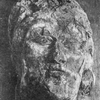 Так называемая «Красная голова» из дворца Топрак-кала, Раскрашенная глина (Хорезм). 3 в. н. э. Из раскопок Хорезмской экспедиции под руководством С. П. Толстова