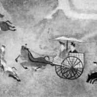 Парадный выезд. Роспись из Ляояна. Провинция Ляодун. Период Хань. 3 в. до н. э. — 3 в. н. э.